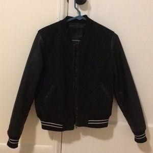 Black Letterman-Style Bomber Jacket